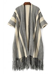 Open Front Short Sleeve Tassels Cardigan - Gray