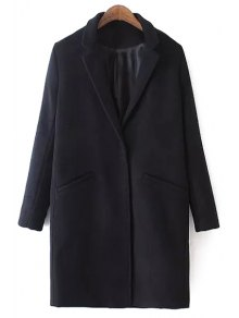 Lapel Solid Color Pocket Trench Coat - Black M