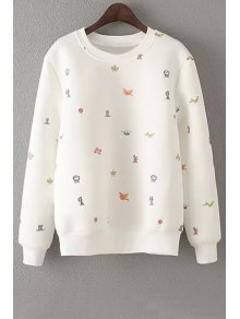 Embroidery Round Neck Long Sleeve Sweatshirt - Off-white S