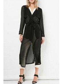Glamorous Sheer Chiffon Trench - Black