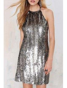 Silver Sequins Sleeveless Dress - Silver L
