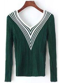 Stripes Spliced V Neck Long Sleeve Jumper - Green