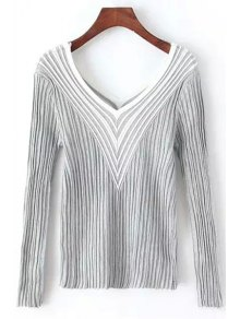 Stripes Spliced V Neck Long Sleeve Jumper