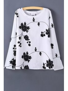 Long Sleeve Flower Print T-Shirt