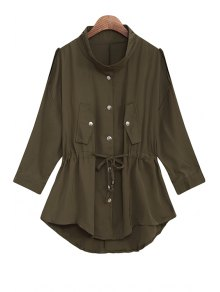 Solid Color Stand Collar Waisted Chiffon Trench Coat - Army Green