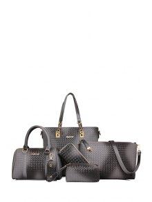 Woven Pattern Metal Zipper Shoulder Bag - Light Gray