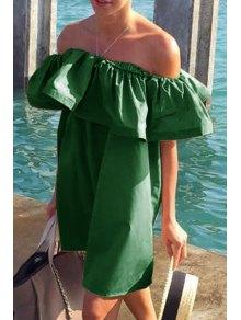 Slash Neck Flounce Splicing Short Sleeve Dress - Deep Green