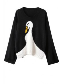 Wide Sleeve Swan Pattern Jumper