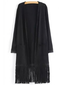 Two Pockets Fringed Suede Coat