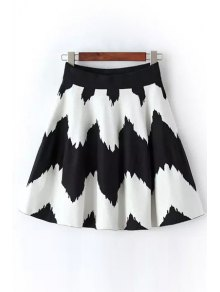 Wavy Stripes A-Line Knitted Skirt