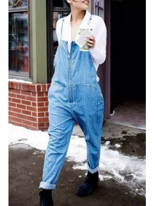 Bleach Wash Zippered Overalls - Light Blue L
