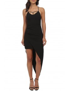 Crisscross Back Asymmetric Bodycon Dress - Black S