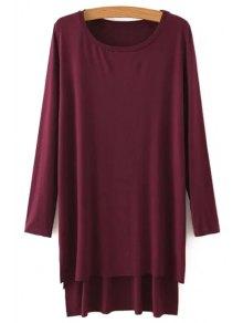 Side Slit Long Sleeves Solid Color Loose Fittng Dress