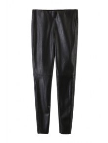 Narrow Feet Faux Leather Black Pants
