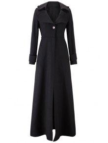 Lapel One Button Faux Wool Coat - Black 2xl