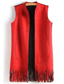 Solid Color Tassels Stand Neck Waistcoat - Red S