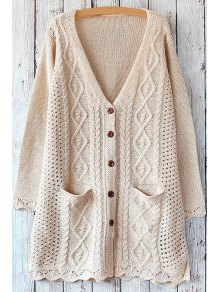 Cable Knit Single-Breasted Cardigan - Off-white