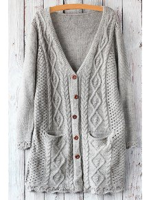 Cable Knit Single-Breasted Cardigan