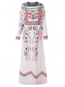 Jewel Neck Colorful Print Floral Long Sleeve Dress