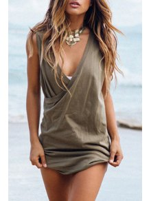 Solid Color Plunging Neck Sleeveless Dress - Army Green Xl