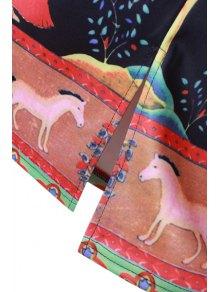Banyan Print Back Slit Pencil Skirt