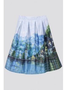 Scenery Print Ball Gown Skirt