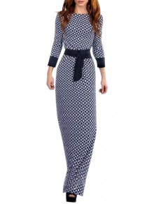 Argyle Print Nine-Minute Sleeve Maxi Dress