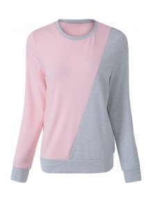 Pink Grey Splicing Long Sleeve Sweatshirt