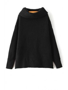 Loose Fitting Turtle Neck Solid Color Pullover Sweater