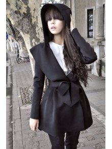 Pure Color Long Sleeve Hooded Trench Coat - Black L