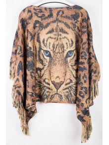 Tiger Print Boat Neck Pullover Sweater