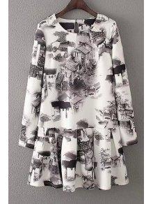 Ink House Print Long Sleeve Dress