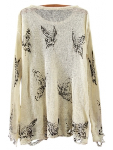 Butterfly Print Long Sleeve Jumper - OFF WHITE ONE SIZE(FIT SIZE XS TO M)