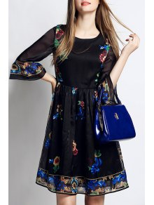 Flowers Print 3/4 Sleeve A Line Dress