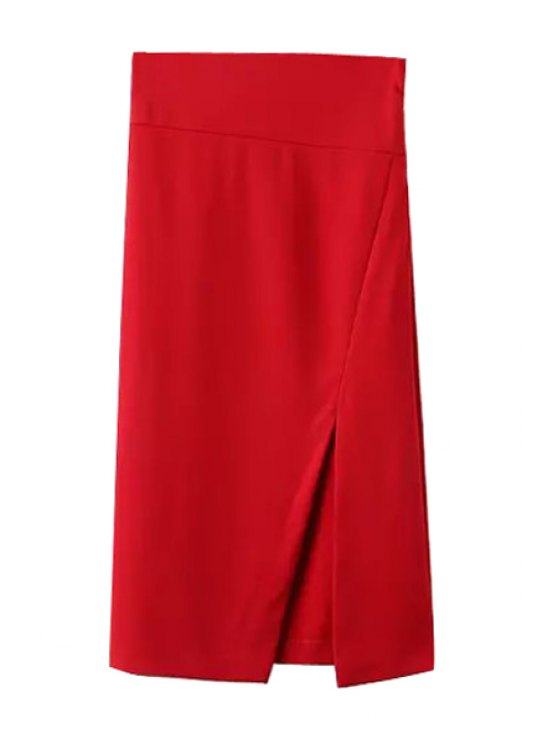 buy Side Slit Stylish Solid Color Women's Skirt - RED S