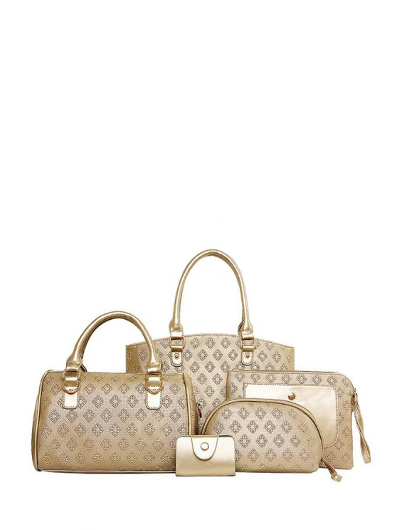 women's Argyle Embossing Metal Tote Bag - GOLDEN