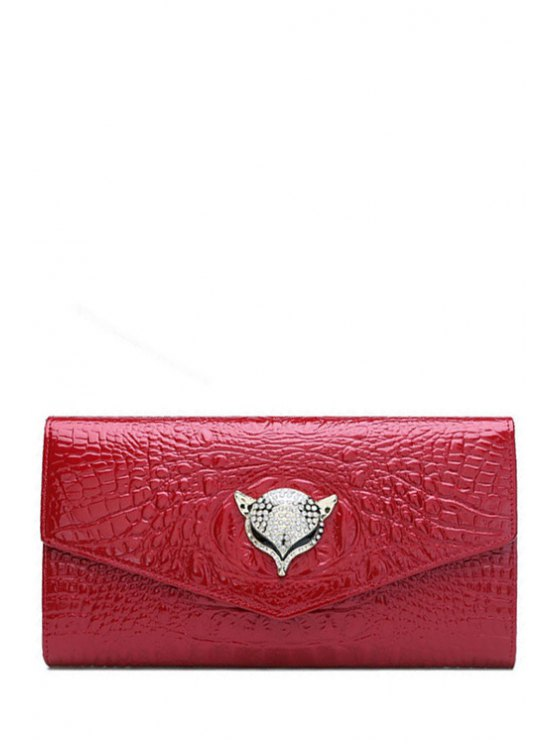 sale Rhinestones Crocodile Print Fox Clutch Bag - RED