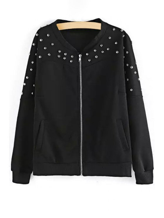 outfit Rivet Embellished Baseball Jacket - BLACK ONE SIZE(FIT SIZE XS TO M)