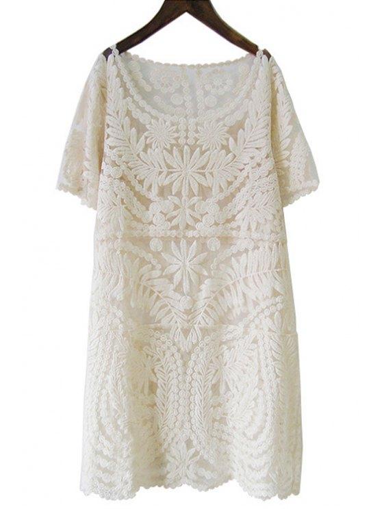 online Pure Color Short Sleeve Lace Dress - APRICOT M