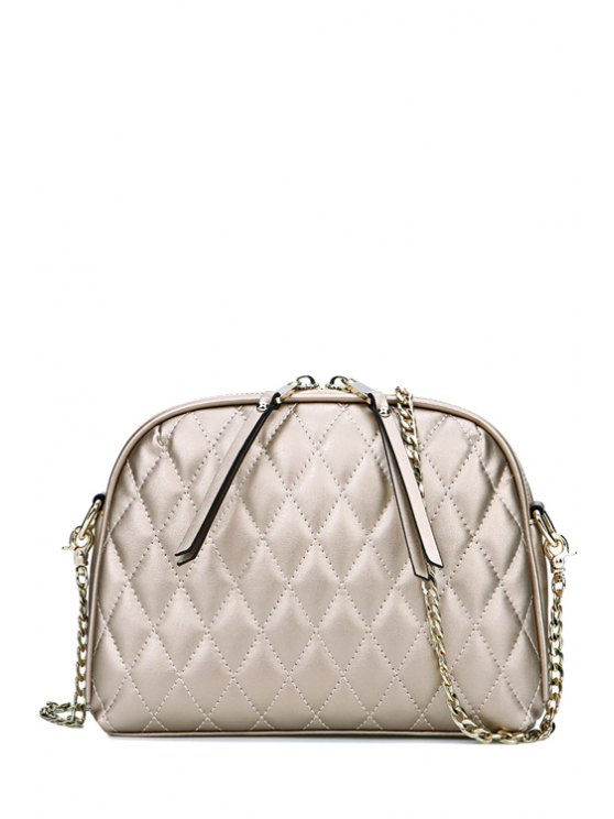 lady Tassel Argyle Solid Color Crossbody Bag - GOLDEN