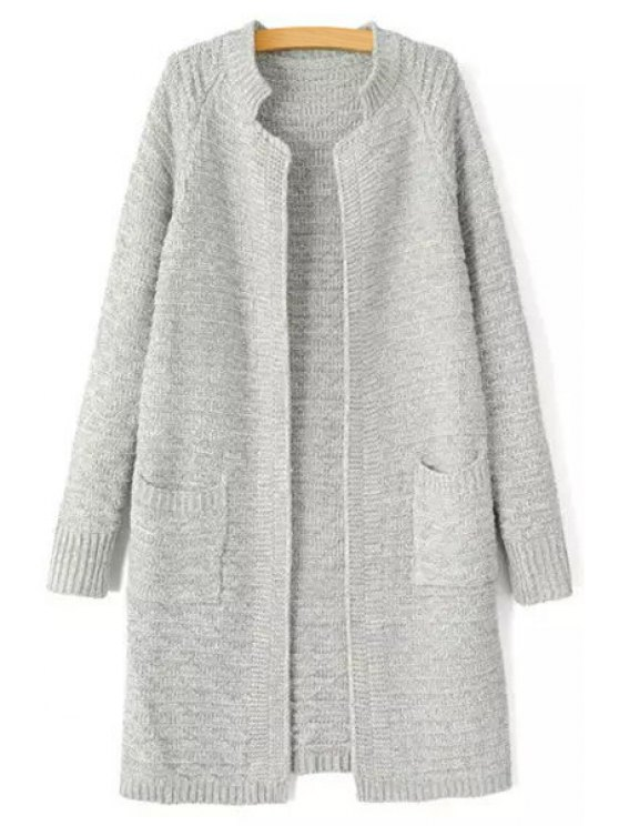 sale Two Pockets Longline Cardigan - LIGHT GRAY ONE SIZE(FIT SIZE XS TO M)