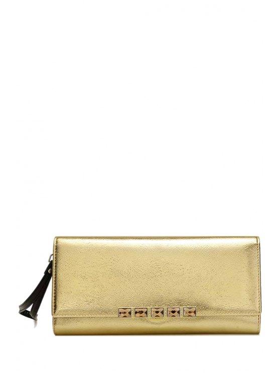 shops Rhinestones Solid Color Hasp Wallet - GOLDEN