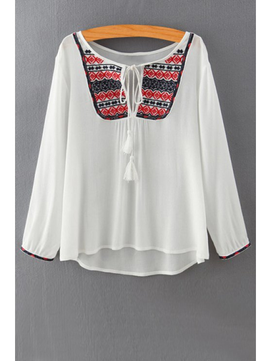 unique Embroidery Print Round Collar Cut Out Blouse - WHITE S