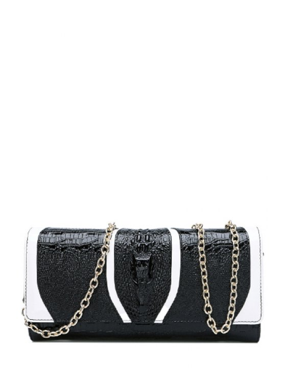 women's Color Matching Crocodile Print Hasp Clutch Bag - BLACK