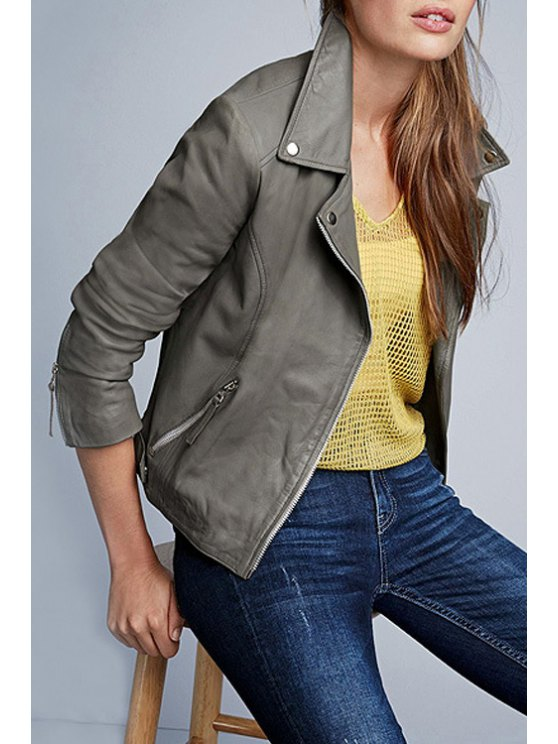 sale Gray PU Leather Lapel Long Sleeve Jacket - GRAY XS