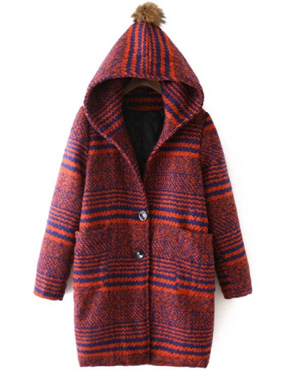 women Hooded Striped Two Pockets Wool Coat - ORANGE RED M