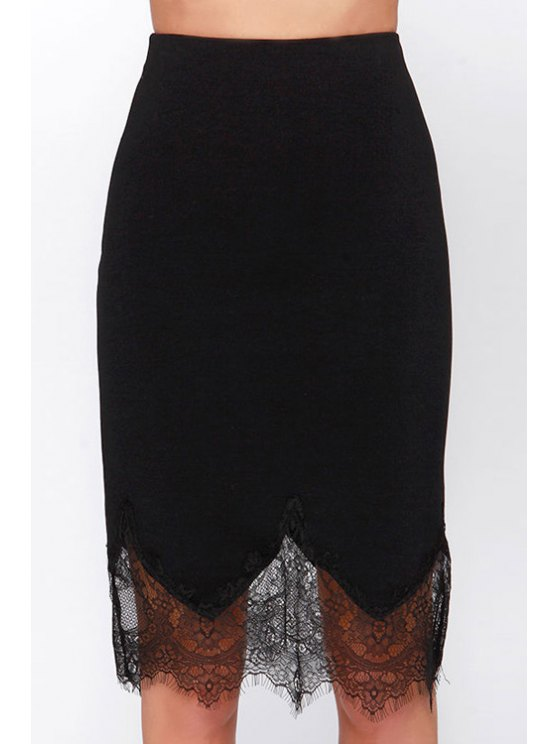 outfit Black Lace Spliced High Waisted Skirt - BLACK XL