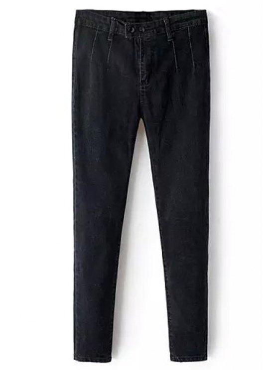 fashion Solid Color Pencil Jeans - BLACK S
