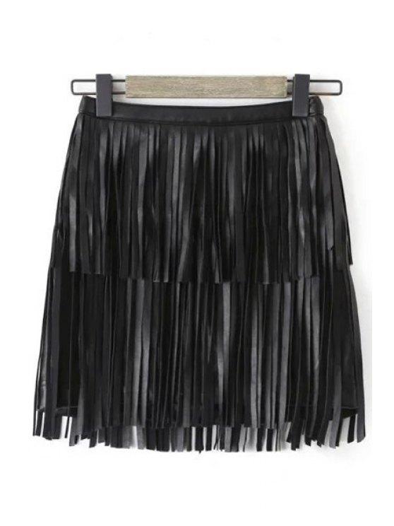 fashion Tassels Faux Leather Skirt - BLACK S