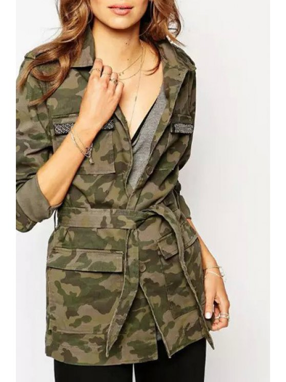 best Single-Breasted Camouflage Coat - GREEN S